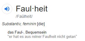 """Lexikon-Definition des Begriffs """"Faulheit"""""""