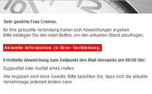 Screenshot einer Zugausfall-Meldung der Deutschen Bahn