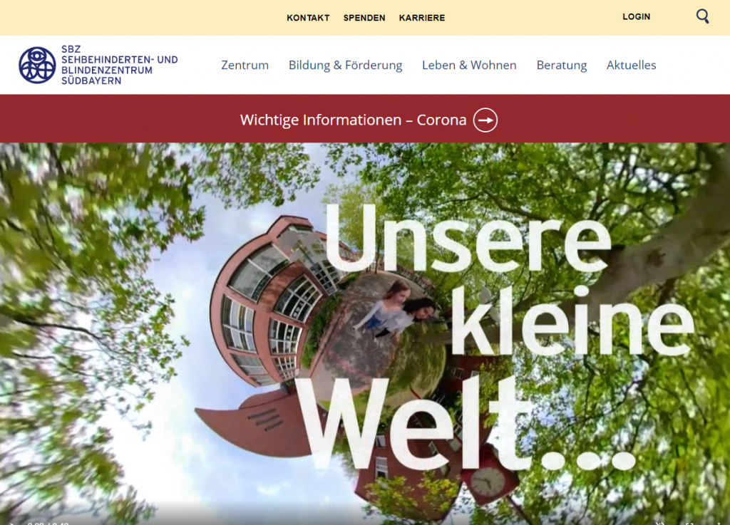 Screenshot der Website für das Sehbehinderten- und Blindenzentrum Südbayern (SBZ)
